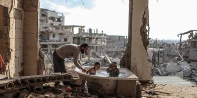 Un baño de niños en Gaza